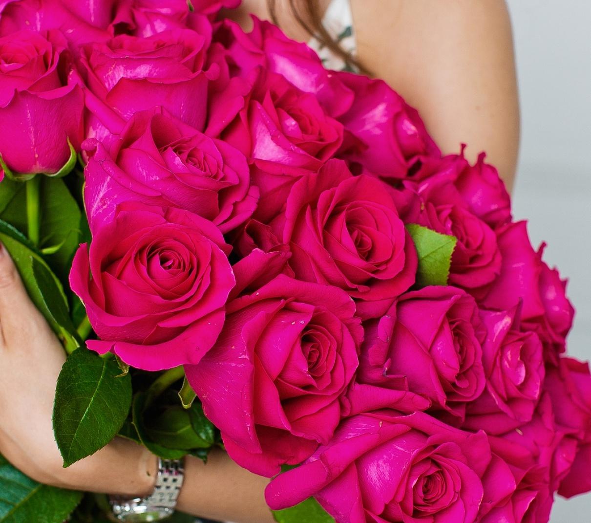 ядовито розовые розы фото